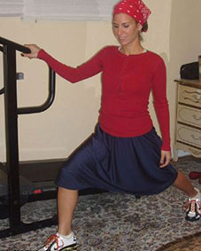 Woman dress tznius exercising