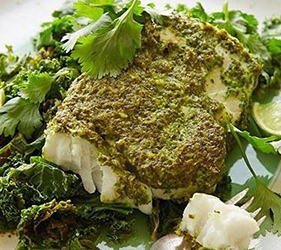 Halibut topped with green curry has a lot of protein