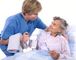 Caregiver taking care of grandmother