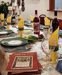 An elegant Seder table