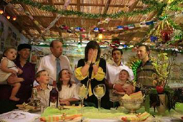 A family in their Sukkah