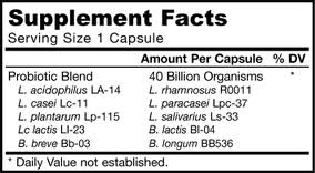 Nutrition label for a supplement