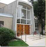 Front of Anshe Shalom B'nai Yisroel, a modern orthodox shul in the Lakeview Area of Chicago, IL