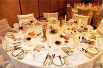 Seder table in a Passover Hotel program