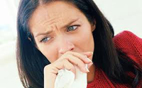 Woman sick & coughing